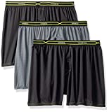 Hanes Men's 3-Pack X-Temp Performance Cool Checker Polyester Boxers, Assorted, Large