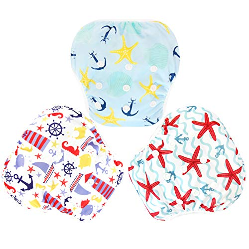Langsprit 3 Pack Swim Diaper for Baby & Toddle,Reuseable Washable Diaper Swim for Swimming Lesson & Baby Shower Gifts (L, Sailing) from Langsprit