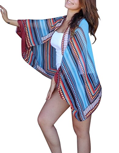 Yonala Women's Bohemia Printed Kimono Shawl Wrap Chiffon Beach Bikini Cover-Up