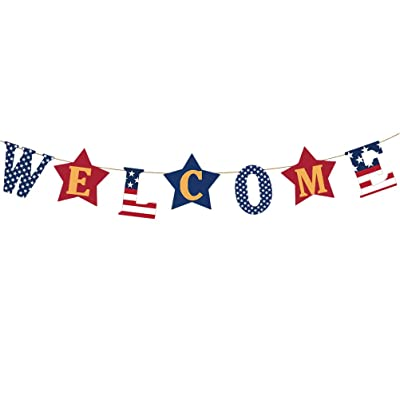 Amosfun WELCOME Letter Banner American Garland Banner America Flag Bunting Banner for America Travel Memorial Day Decoration: Toys & Games