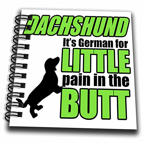 3dRose Pet Humor - Dachshund Its German Green - Mini Notepad 4 x 4 inch (db_274559_3)