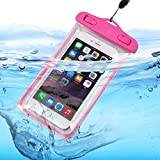 I-Sonite (Hot Pink) Universal Transparent Mobile Phone , Passport, Money Underwater Waterproof Swimming Pool, Ocean Protection Bag Touch Responsive For Archos Sense 50X