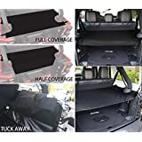 EnRand Black Jeep Wrangler Cargo Cover,Water-Repellent,Privacy Protected,Trunk Shade Cargo Cover Shield Pad for Jeep Wrangler JK JKU Sports/Sahara/Freedom/Rubicon Unlimited 2007-2017 4 Door