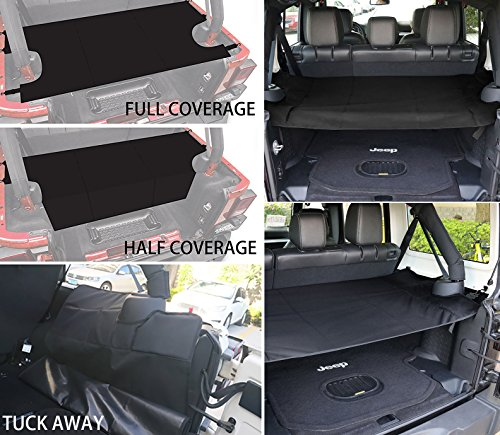 EnRand Black Jeep Wrangler Cargo Cover,Water-repellent,Privacy Protected,Trunk Shade Cargo Cover Shield Pad for Jeep Wrangler JK JKU Sports/ Sahara/ Freedom/ Rubicon Unlimited 2007-2017 4 Door
