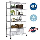 Paylesshere 6 Tier Wire Shelving Unit Garage Storage Shelves Large NSF Metal Shelves Heavy Duty Height Adjustable Commercial Grade Utility Steel Rack 2100 LBS Capacity with Wheels, 82'x48'x18', Chrome