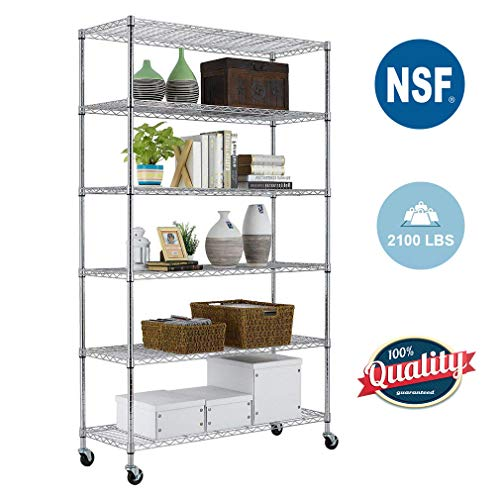 "Paylesshere 6 Tier Wire Shelving Unit Garage Storage Shelves Large NSF Metal Shelves Heavy Duty Height Adjustable Commercial Grade Utility Steel Rack 2100 LBS Capacity with Wheels, 82""x48""x18"", Chrome"