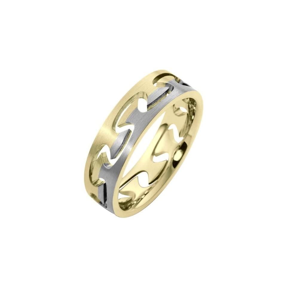 18 Karat Two Tone Gold Puzzle Style Unique Comfort Fit Wedding Band Ring