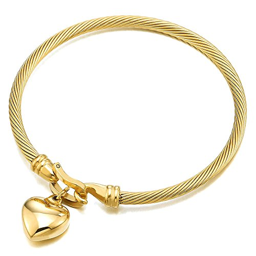 - COOLSTEELANDBEYOND Lovely Puff Heart Charm Twisted Cable Bangle Bracelet for Women Girls Steel Gold Color Hook Closure