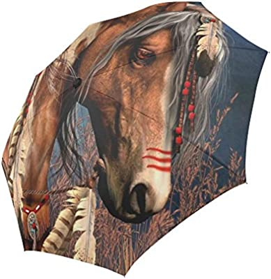 Automatic Foldable Umbrella Fashion Design Native American Indian Horse Windproof Rainproof Travel Umbrella Compact Sun//Rain