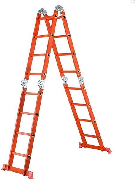 DBXOKK Escalera de Mano Escalera telescópica Escalera Plegable Escalera Gruesa de Aluminio Escalera Extensible multifunción Proyecto Escaleras Rectas, Multi-Forma, 4 Juntas, Naranja: Amazon.es: Hogar