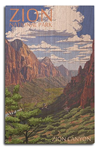 (Lantern Press Zion National Park, Utah - Zion Canyon View (10x15 Wood Wall Sign, Wall Decor Ready to Hang))