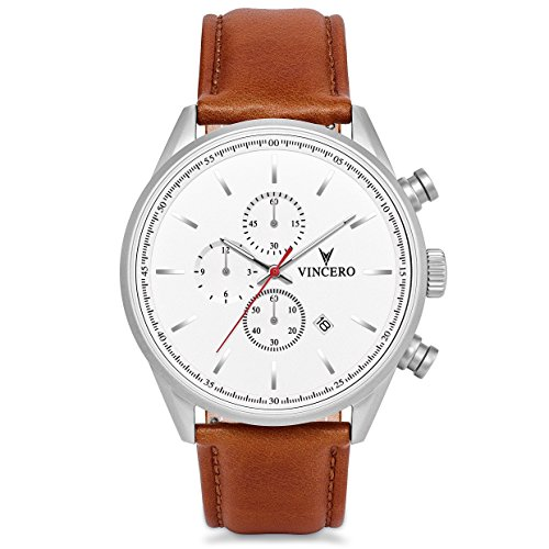 - Vincero Luxury Limited Edition Men's Chrono S Wristwatch - White Dial with a Matte Silver Case & Brown Italian Leather Watch Band - 43mm Chronograph Watch - Japanese Quartz Movement - Amazon Exclusive