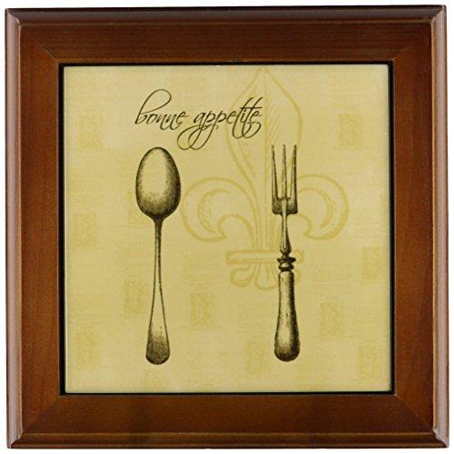 3dRose ft_110273_1 Fleur De Lis Bonne Appetite Fork and Spoon Vintage Kitchen Art-Framed Tile, 8 by ()