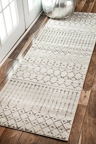 Traditional Vintage Moroccan Trellis Grey Runner Area Rugs, 2 Feet 8 Inches by 12 Feet (2' 8