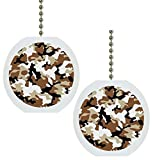 Set of 2 Desert Camouflage Camo Military Solid Ceramic Fan Pulls