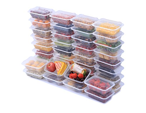 NutriBox [40 Value Pack] single one compartment 24 OZ Meal Prep Plastic Food Storage Containers - BPA Free Reusable Lunch Bento Box with Lids - Spill proof,Microwave, Dishwasher and Freezer Safe