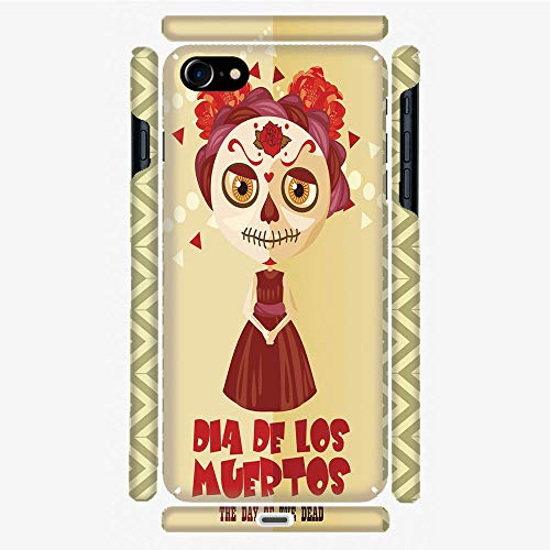 Phone Case Compatible with 3D Printed iPhone 7/iPhone 8 DIY Fashion Picture,Dia de Los Muertos Print Girl with Gothic Makeup,Personalized Designed Hard Plastic Cell Phone Back Cover Shell -
