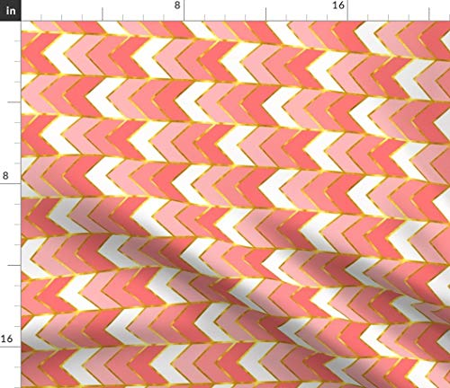 Railroaded Stripe - Spoonflower Pink and Gold Chevron Fabric - Girls Coral Stripe Gold Pink Baby Girl Chevron Geometric by Willowlanetextiles Printed on Petal Signature Cotton Fabric by The Yard