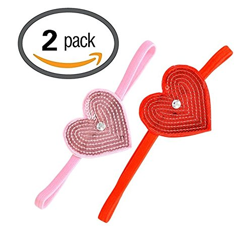 Valentine's Day Girls Elastic Headband with Pink and Red Heart, Set of ()