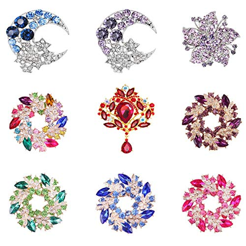 - Ioffersuper Set of 9 Multicolored Rhinestone Round Crystal Brooch Pin, Bouquet Brooch Jewelry Kit for Girls Women