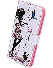 Herbests Beschermhoes compatibel met Sony Xperia L3 van leer, met standaard en creditcardvakken, bloemen, meisjes, kat