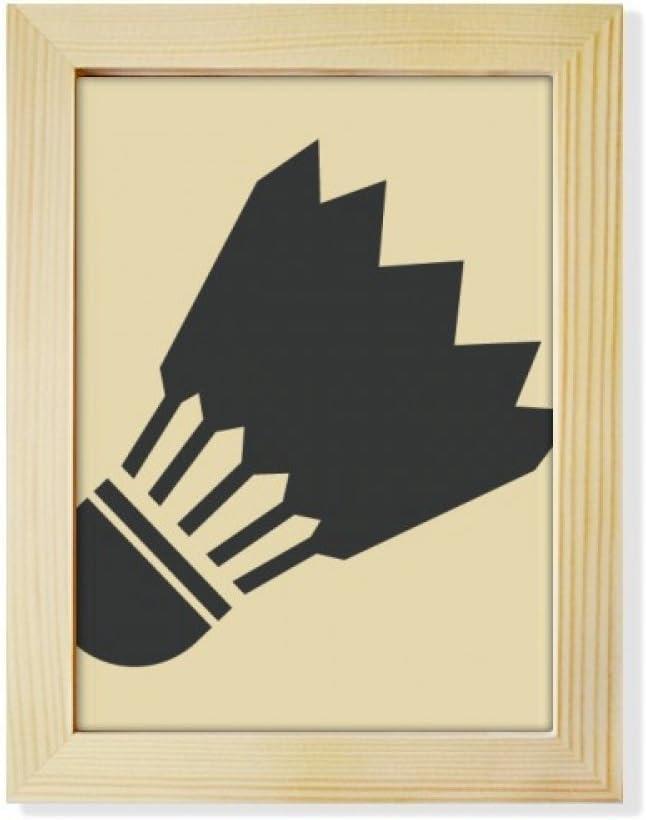 DIYthinker Badminton Sport Simple Geometry Pattern Desktop Adorn Photo Frame Display Art Painting Wooden