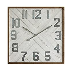 Creative Co-Op DA7663 Sonoma Square Wood & Metal Wall Clock