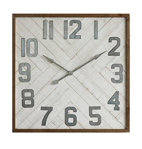 Creative Co-op Sonoma Square Wood & Metal Wall Clock (Sonoma Clock)