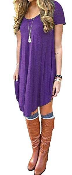 33e30e7036 DEARCASE Women s Short Sleeve Casual Loose Fit T-Shirt Tunic Dress ...