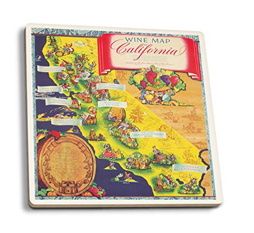 Coasters Ceramic Taylor - Lantern Press Wine Map of California (Artist: Taylor) USA c. 1950 - Vintage Advertisement (Set of 4 Ceramic Coasters - Cork-Backed, Absorbent)
