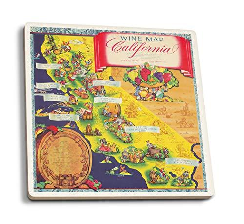 Taylor Ceramic Coasters - Lantern Press Wine Map of California (Artist: Taylor) USA c. 1950 - Vintage Advertisement (Set of 4 Ceramic Coasters - Cork-Backed, Absorbent)