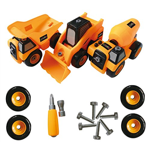 Zeliku Construction Take Apart Trucks STEM LearningToys, (Set of 3 Truck Toys), Dump truck, Cement Truck & Digger Toy, W Tools, Great Gift For Boys & Girls Ages 3 - 12 Years Old - Three Truck