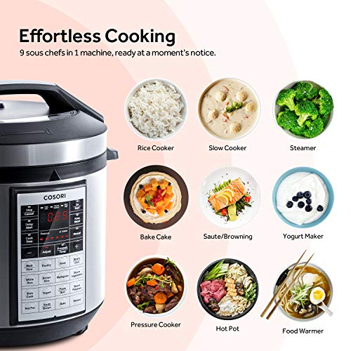 COSORI Upgraded 6 Quart 9-in-1 Programmable Pressure Cooker with 16 Built-In Programs, Stainless Steel Pot & All Cooking Essentials, Slow Cooker,Rice Cooker,Steamer,Sauté,Yogurt Maker,Hot Pot & Warmer by COSORI (Image #2)'