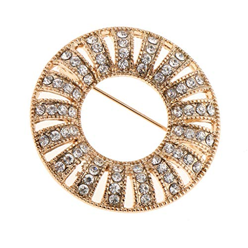 (Charm Crystal Round Elegant Women Wedding Party Brooch Pin Bouquet Breastpin | Color - Gold)