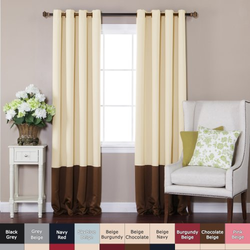 Best Home Fashion Colorblock Thermal Insulated Blackout Curtains