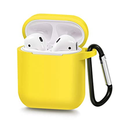 26e040341de Amazon.com: AirSha Compatible for AirPods Case with Keychain, Shockproof  Protective Silicone Cover Skin for AirPods Charging Case 2 & 1 (Yellow):  Home Audio ...