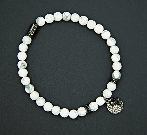 Unisex royal howlite healing gemstones beaded bracelet   Spiritual pendant Yin&Yang charm beads bracelet (White - Yin and Yang Charm - Black, Small (Yang Gemstone)