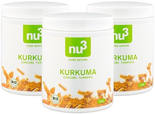 nu3 Cúrcuma Orgánica | 600 cápsulas con kurkuma molida | Tabletas veganas de cúrcuma con pimienta | Alto contenido de piperina natural + extracto de ...