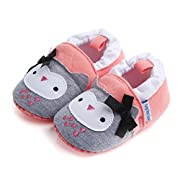 Save Beautiful Cute Animal Infant Baby Girl Boy Toddler Shoes Sneaker Anti-Slip Soft Sole First Walkers Shoes (0-6 Months, Pink Owl)