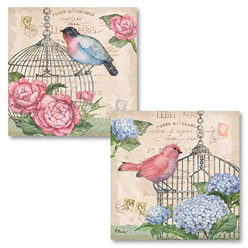 Blue Bird Cottage - Gango Home Decor Vintage French Pink and Blue Peonies and Birds;Two 12x12in Floral Prints. Pink/Blue/Beige