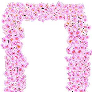 Supla Artificial Cherry Blossom Flower Garlands in Pink 4' Long 1