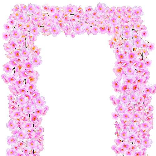 Supla 17.7' (3 Pack) Fake Artificial Cherry Blossom Flower Pink Garlands Vines Strings Silk Japanese Sakura Flowers Hanging Cherry Blossom Vines in Light Pink for Wedding Arch Party Indoor/Outdoor