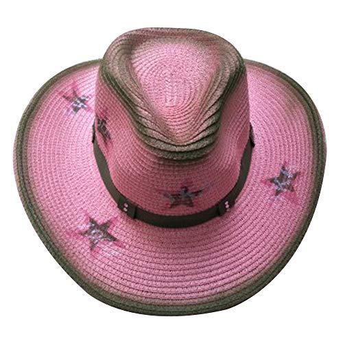 MINAKOLIFE Men's & Women's Western Style Cowboy/Cowgirl Straw Hat (Pink) -