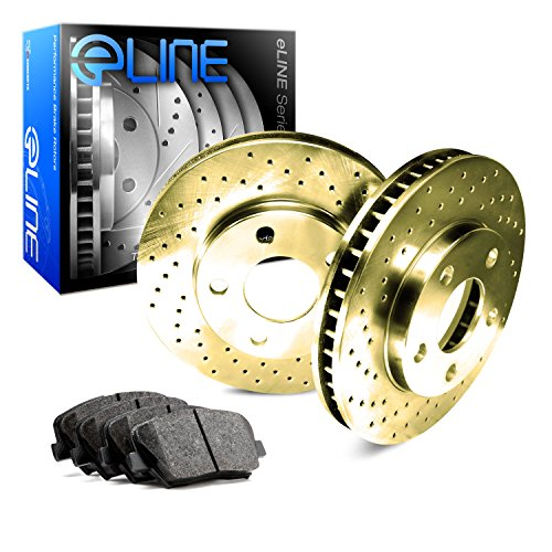 (Rear eLine Gold Series Drilled Brake Rotors & Ceramic Brake Pads RGX.03000.02)
