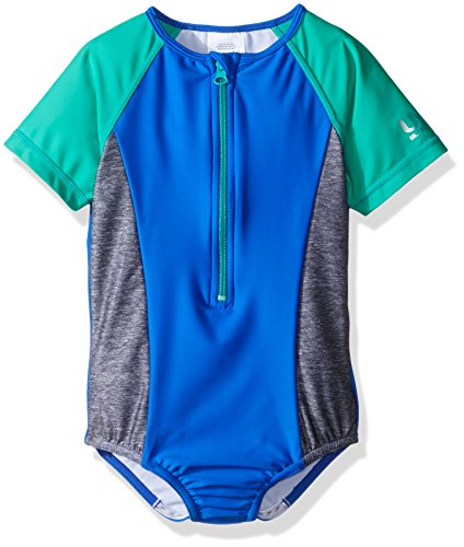 Speedo Girls Short Sleeve Zip One Piece Swimsuit, Radiant...
