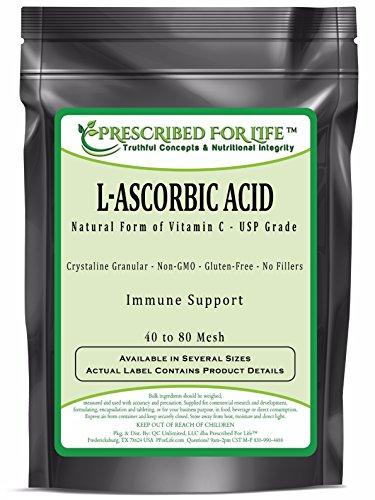 Ascorbic Acid (L) - Pure USP Grade Vitamin C - Crystalline Powder 40-80 Mesh, 5 lb by Prescribed For Life