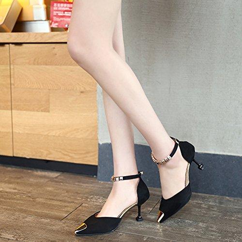tacón estrecha Zapatos de medio Vestido tobillo Gatito para del mujer trabajo Negro Correa corte Bombas Confort Wealsex Suede talón Punta de para fiestas de OaEZnWF
