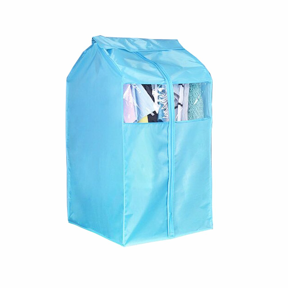 Blue Clothing Care Garment Rack Cover Polyester Cloth Protector Wardrobe Hanging Storage Bag Dust Protector Cover with Magic Tape and Zipper YFZ02 ZhuoLang