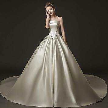 WFL Vestido de Novia de satén Qi Cola Larga Delgado Slim Princess Princesa Tubo de sueño