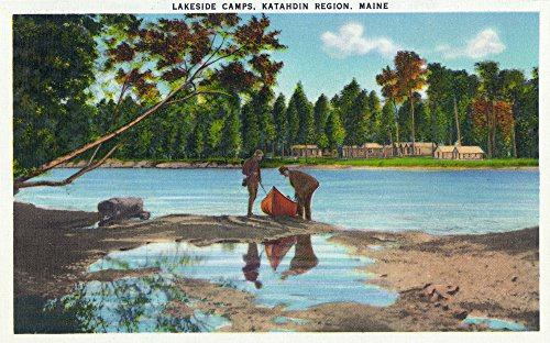 Katahdin Cabin - Maine - View of Katahdin Region Lakeside Camps, Couple Landing Canoe (36x54 Giclee Gallery Print, Wall Decor Travel Poster)